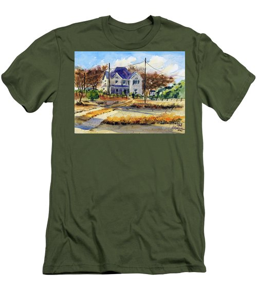 Men's T-Shirt (Slim Fit) featuring the painting Grayson County Farmhouse by Ron Stephens