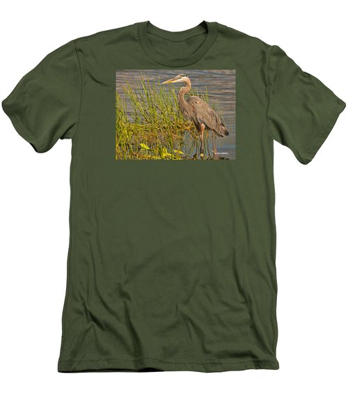 Men's T-Shirt (Slim Fit) featuring the photograph Great Blue At The Park by Don Durfee
