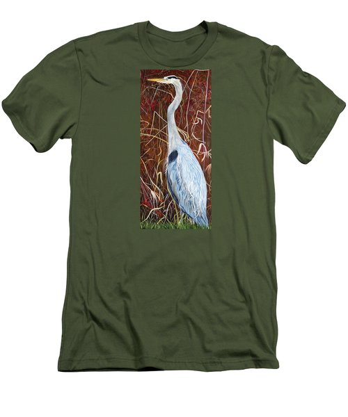 Great Blue Heron Men's T-Shirt (Slim Fit) by Marilyn  McNish