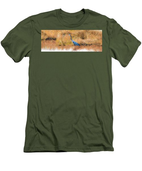 Great Blue Heron Men's T-Shirt (Slim Fit) by Marion Johnson