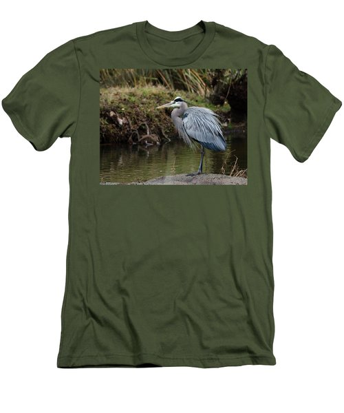 Great Blue Heron On The Watch Men's T-Shirt (Slim Fit) by George Randy Bass