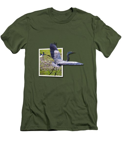 Great Blue Heron Takes Flight Men's T-Shirt (Athletic Fit)