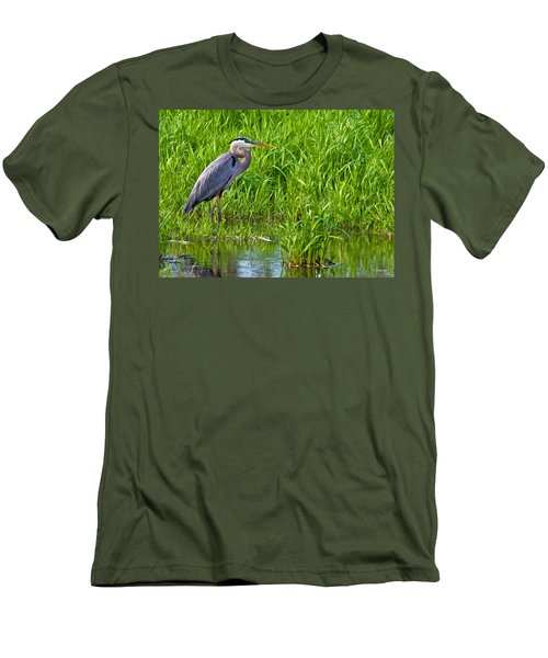 Great Blue Heron Waiting Men's T-Shirt (Athletic Fit)
