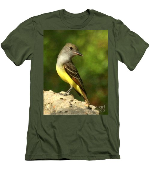 Men's T-Shirt (Slim Fit) featuring the photograph Great Crested Flycatcher by Myrna Bradshaw