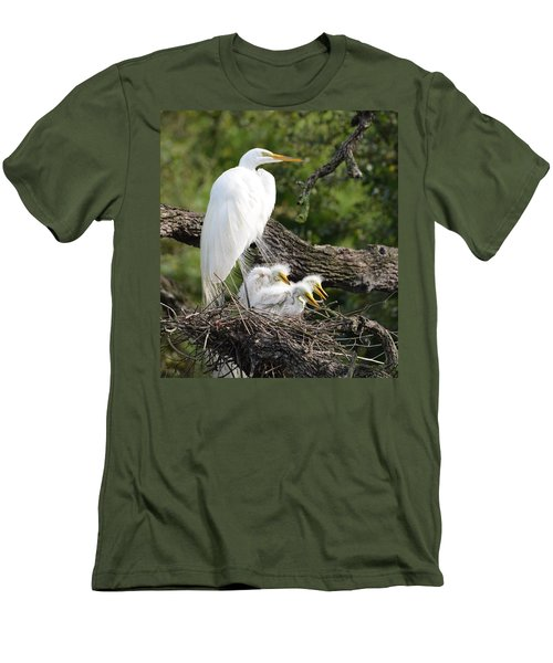 Great Egret Family  Men's T-Shirt (Slim Fit) by Richard Bryce and Family