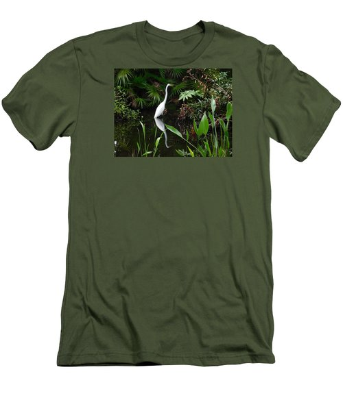 Great Egret In Pond Men's T-Shirt (Slim Fit) by Melinda Saminski