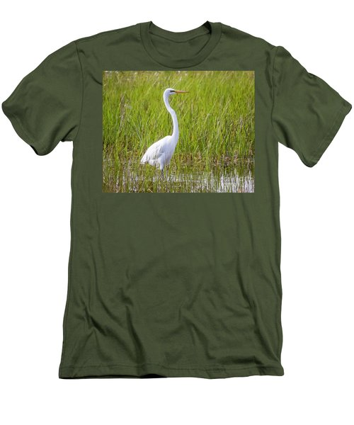 Men's T-Shirt (Athletic Fit) featuring the photograph Great Egret In The Spring  by Ricky L Jones