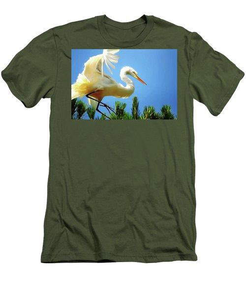 Great Egret Preparing For Treetop Landing 3 - Digitalart Men's T-Shirt (Athletic Fit)