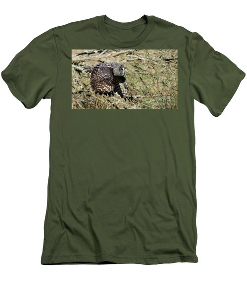 Great Grey Flying Men's T-Shirt (Slim Fit) by Torbjorn Swenelius