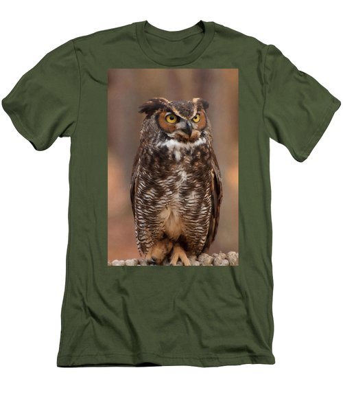 Great Horned Owl Digital Oil Men's T-Shirt (Slim Fit) by Chris Flees