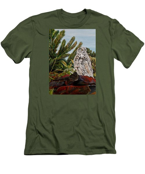 Men's T-Shirt (Slim Fit) featuring the painting Great Horned Owl - Owl On The Rocks by Marilyn  McNish
