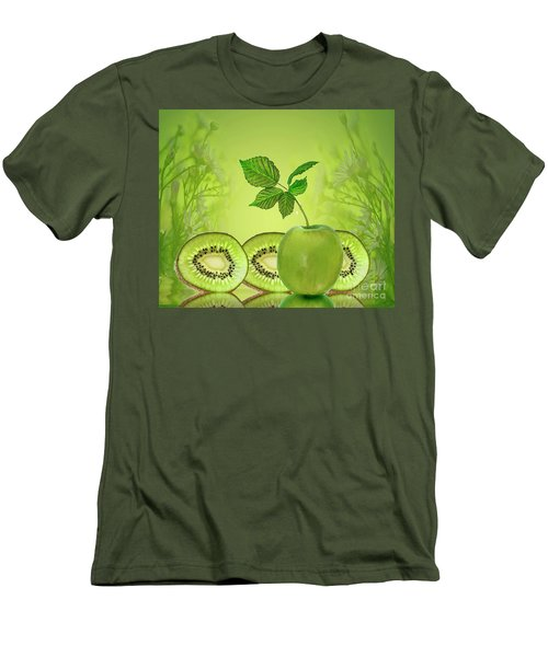 Greeeeeen Men's T-Shirt (Slim Fit) by Shirley Mangini