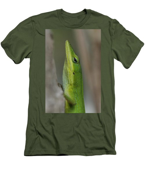 Men's T-Shirt (Slim Fit) featuring the photograph Green Anole by Doris Potter