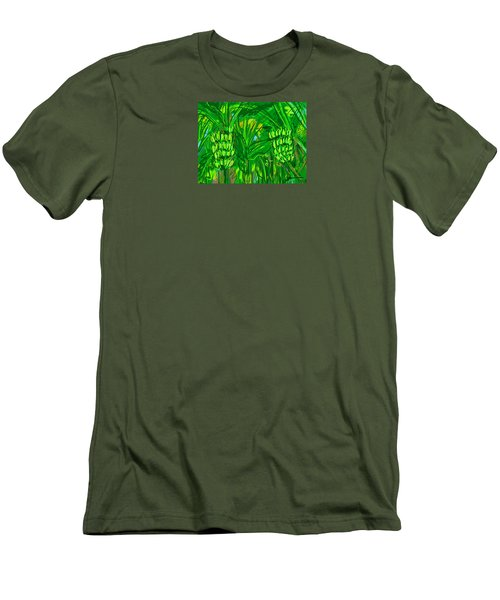 Men's T-Shirt (Slim Fit) featuring the digital art Green Bananas by Jean Pacheco Ravinski
