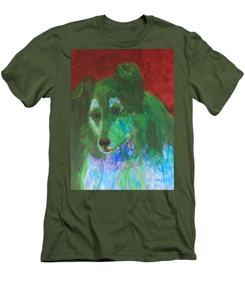 Men's T-Shirt (Slim Fit) featuring the painting Green Collie by Donald J Ryker III