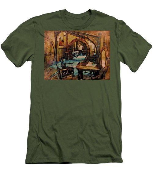 Men's T-Shirt (Slim Fit) featuring the digital art Green Dragon Writing Nook by Kathy Kelly