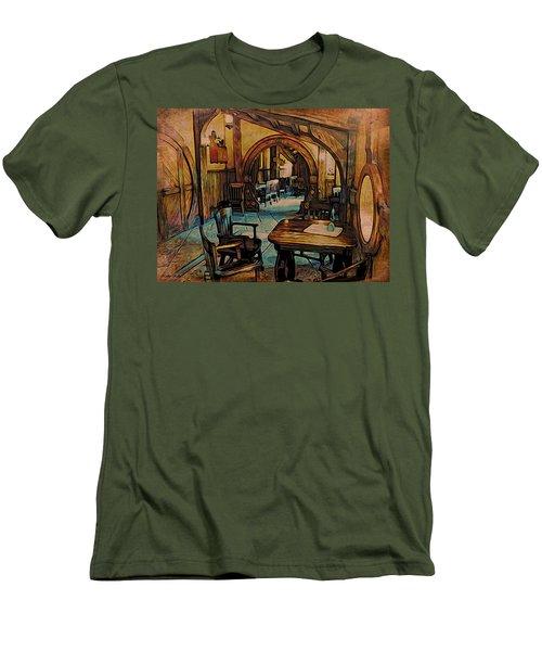 Green Dragon Writing Nook Men's T-Shirt (Slim Fit) by Kathy Kelly