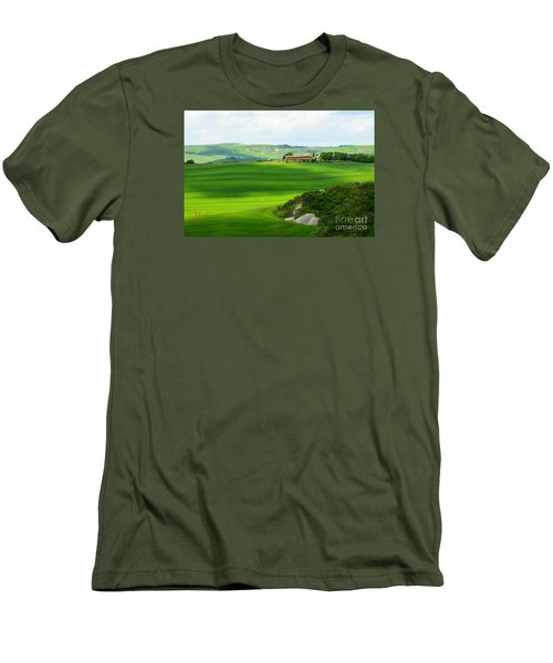 Green Escape In Tuscany Men's T-Shirt (Slim Fit) by Ramona Matei