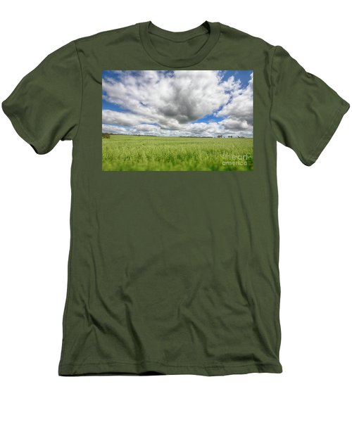 Green Fields 2 Men's T-Shirt (Slim Fit) by Douglas Barnard