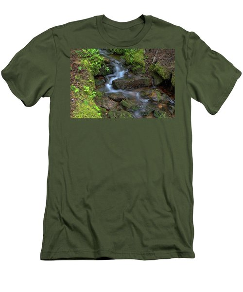 Men's T-Shirt (Athletic Fit) featuring the photograph Green Flowing Stream by James BO Insogna