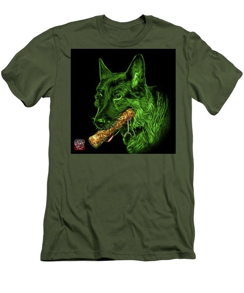 Men's T-Shirt (Slim Fit) featuring the digital art Green German Shepherd And Toy - 0745 F by James Ahn