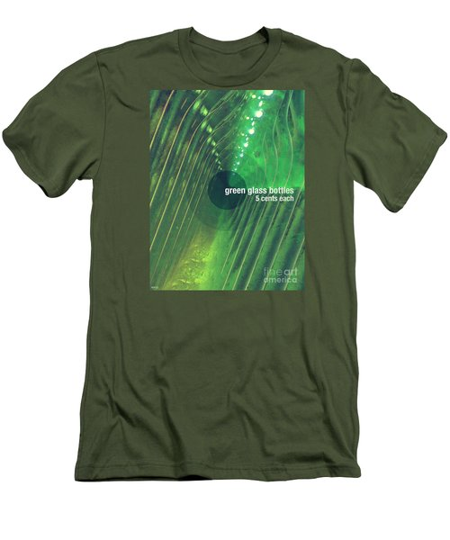 Men's T-Shirt (Slim Fit) featuring the photograph Green Glass Bottles by Phil Perkins