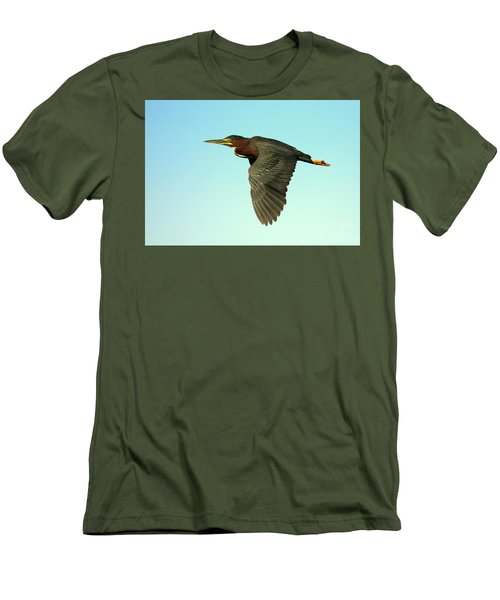 Men's T-Shirt (Slim Fit) featuring the photograph Green Heron Flight by Myrna Bradshaw