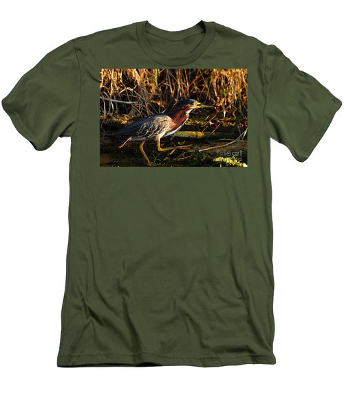 Men's T-Shirt (Slim Fit) featuring the photograph Green Heron by Larry Ricker