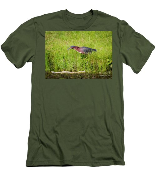 Men's T-Shirt (Athletic Fit) featuring the photograph Green Heron On The Hunt by Ricky L Jones