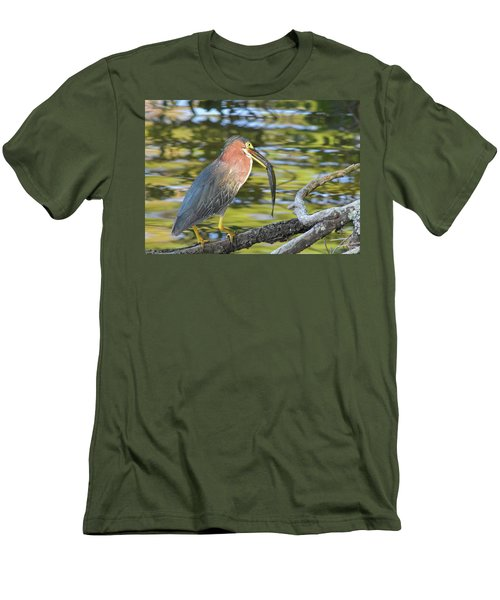 Green Heron With Fish Men's T-Shirt (Athletic Fit)