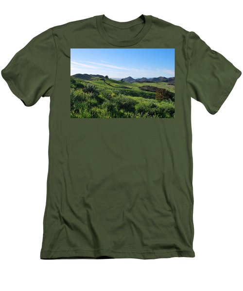 Men's T-Shirt (Athletic Fit) featuring the photograph Green Hills Landscape With Cactus by Matt Harang