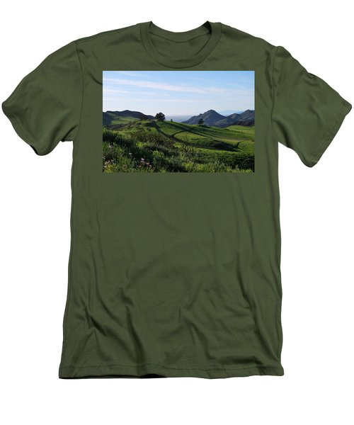 Men's T-Shirt (Athletic Fit) featuring the photograph Green Hills Purple Flowers Foreground  by Matt Harang