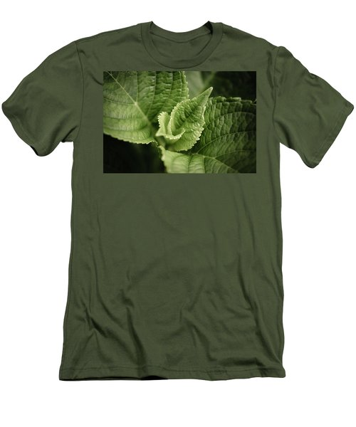 Men's T-Shirt (Slim Fit) featuring the photograph Green Leaves Abstract II by Marco Oliveira