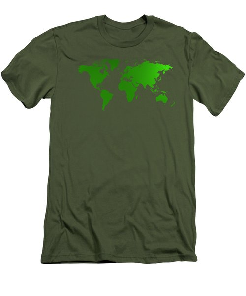Green Map Of The World Men's T-Shirt (Athletic Fit)