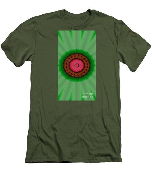 Green Mandala Painting By Sariblle Men's T-Shirt (Slim Fit) by Saribelle Rodriguez