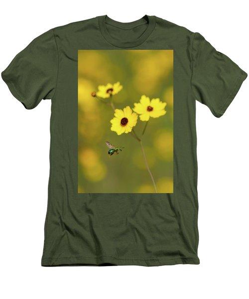 Green Metallic Bee Men's T-Shirt (Slim Fit) by Paul Rebmann