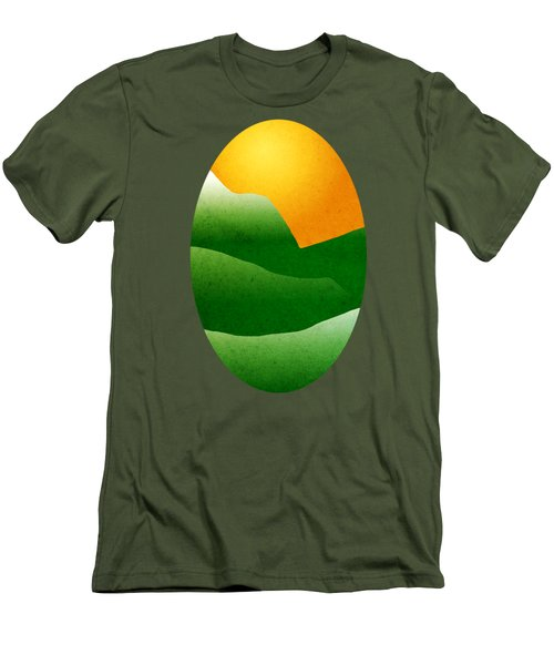 Green Mountain Sunrise Landscape Art Men's T-Shirt (Slim Fit) by Christina Rollo