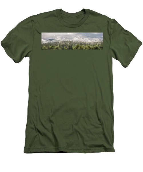 Green Mountains Fog Panoramic Men's T-Shirt (Athletic Fit)