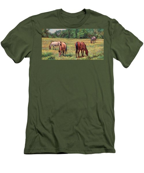 Green Pastures - Horses Grazing In A Field Men's T-Shirt (Slim Fit) by Bonnie Mason