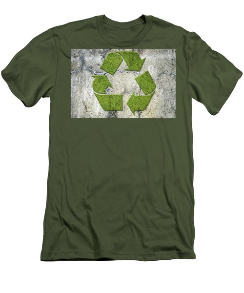 Green Recycling Sign On A Concrete Wall Men's T-Shirt (Slim Fit) by GoodMood Art