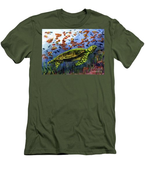 Green Sea Turtle Men's T-Shirt (Slim Fit) by Randy Sprout