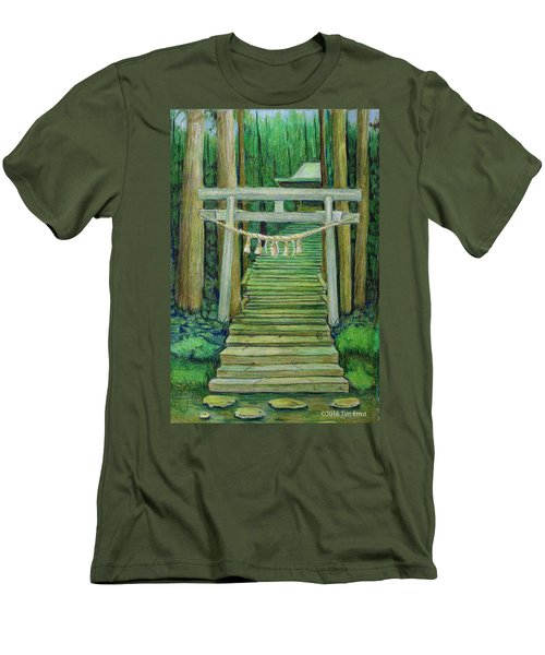 Men's T-Shirt (Slim Fit) featuring the drawing Green Stairway by Tim Ernst