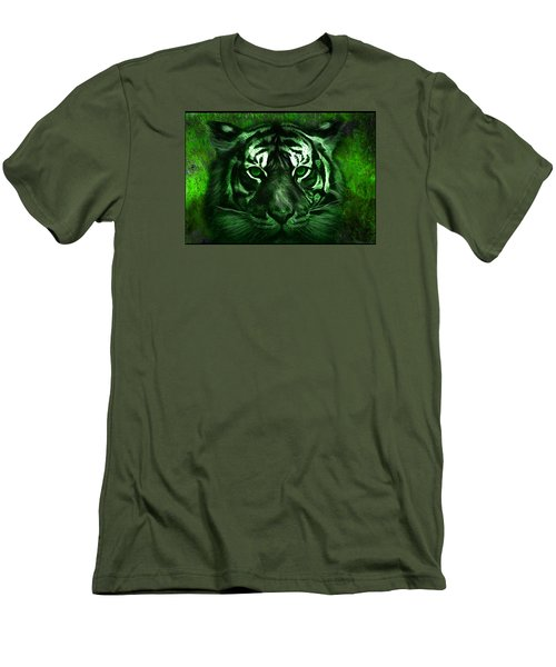 Green Tiger Men's T-Shirt (Slim Fit) by Michael Cleere
