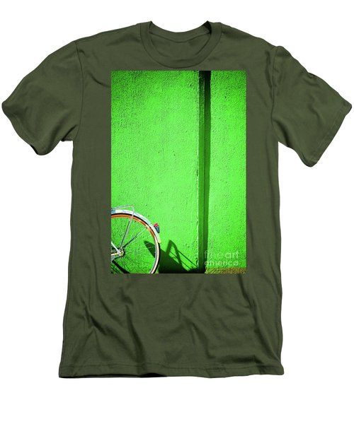 Men's T-Shirt (Athletic Fit) featuring the photograph Green Wall And Bicycle Wheel by Silvia Ganora