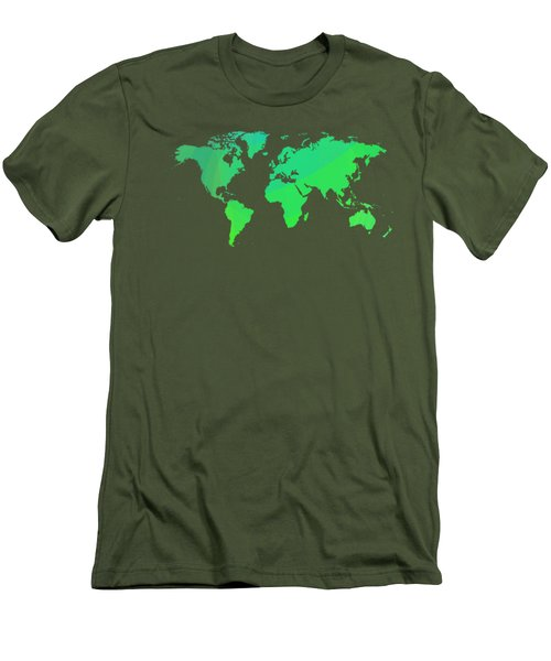 Green World Map Men's T-Shirt (Athletic Fit)