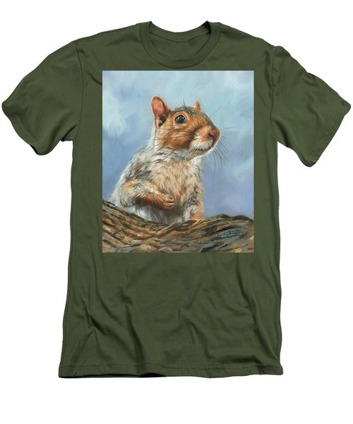 Men's T-Shirt (Slim Fit) featuring the painting Grey Squirrel by David Stribbling