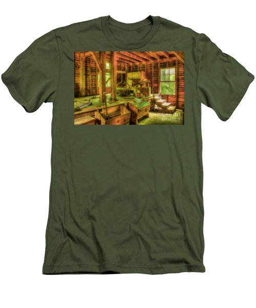 Men's T-Shirt (Slim Fit) featuring the photograph Grindingworks Mingus Mill Great Smoky Mountains Art by Reid Callaway