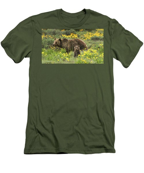 Grizzlies In The Wildflowers Men's T-Shirt (Athletic Fit)