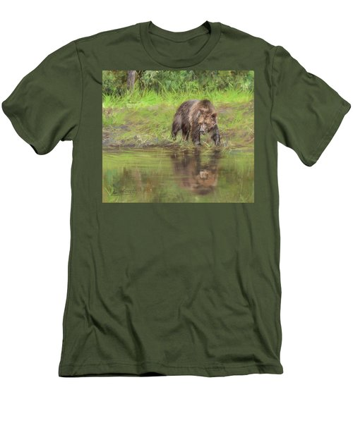Grizzly Bear At Water's Edge Men's T-Shirt (Athletic Fit)