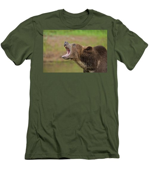 Grizzly Bear Growl Men's T-Shirt (Athletic Fit)